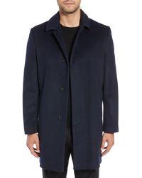 Hart Schaffner Marx Turner Plaid Wool Blend Topcoat - Blue