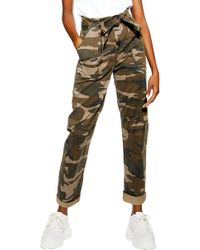 TOPSHOP - Camouflage Paperbag Waist Utility Trousers - Lyst
