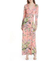 Diane von Furstenberg - Diane Von Furstenberg Floral Shawl Collar Silk Wrap Dress - Lyst