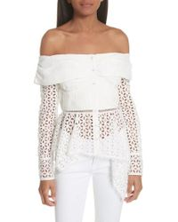 b40b196aa9fe4 Self-Portrait - Broderie Anglaise Off The Shoulder Top - Lyst