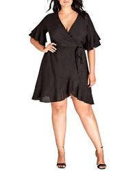 City Chic - Flounce Sleeve Dress - Lyst