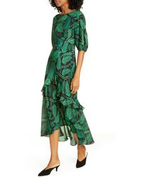 RIXO London Cheryl Silk Leaf Print Midi Dress - Green
