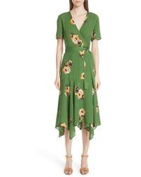 A.L.C. - Cora Floral Print Silk Wrap Dress - Lyst