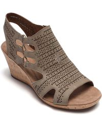 Cobb Hill Janna Perforated Wedge Sandal - Brown