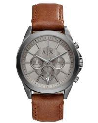 Armani Exchange - Chronograph Leather Strap Watch - Lyst