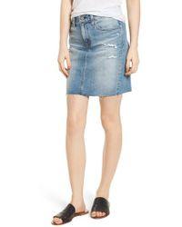 AG Jeans - The Erin Distressed Denim Miniskirt - Lyst