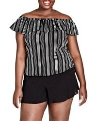 City Chic - Stripe Play Off The Shoulder Top - Lyst