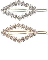 Tasha Assorted 2-pack Crystal Hair Clips, Metallic