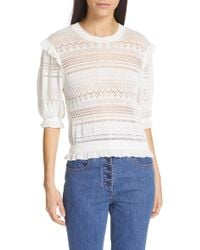 98034fb1a7dd Ulla Johnson - Linny Ruffle Trim Sweater - Lyst