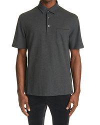 Ermenegildo Zegna Cotton Pique Polo Shirt - Grey