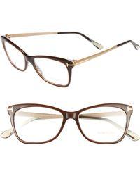 Tom Ford - 52mm Cat Eye Optical Glasses - Dark Brown - Lyst