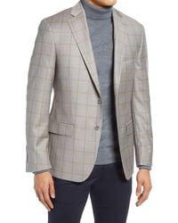 Hart Schaffner Marx Windowpane Plaid Classic Fit Wool Sport Coat - Gray