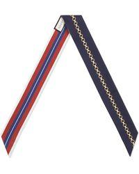 Gucci - Chain & Ribbon Print Reversible Silk Skinny Scarf - Lyst