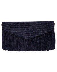Nina Metallic Rainbow Stripe Clutch - Blue