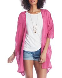 Sole Society Eyelet Embroidered Kimono - Pink