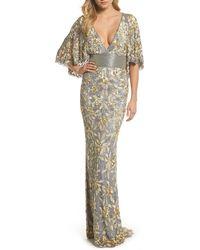 Mac Duggal Sequin & Bead Embellished Gown - Metallic