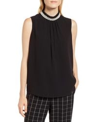 Karl Lagerfeld - Faux Pearl Collar Sleeveless Blouse - Lyst