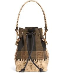Fendi Mini Mon Tresor Jacquard Raffia Bucket Bag - Brown