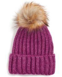Sole Society - Faux Fur Pom Knit Beanie - Purple - Lyst