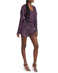 Endless Rose Sequin Long Sleeve Wrap Romper - Purple