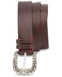 Eleventy - Snakeskin Buckle Leather Belt - Lyst