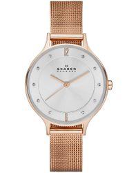 Skagen - 'anita' Crystal Index Mesh Strap Watch - Lyst