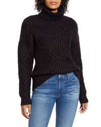 Caslon Caslon Chunky Cable Knit Turtleneck Sweater - Black