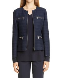 Lafayette 148 New York Kerrington Tweed Jacket - Blue