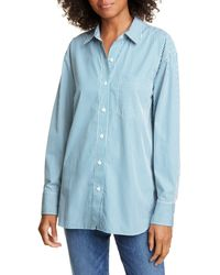 Jenni Kayne Stripe Boyfriend Cotton Poplin Shirt - Blue