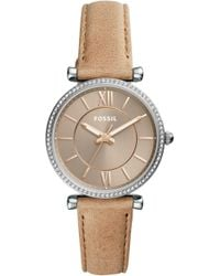 Fossil - Carlie T-bar Crystal Leather Strap Watch - Lyst