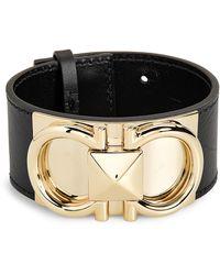 Ferragamo Double Gancio Leather Cuff Bracelet - Black