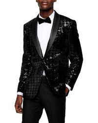 TOPMAN Sequin Skinny Fit Suit Blazer With Shawl Lapel - Black