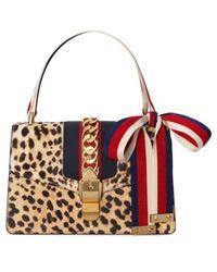 Gucci - Small Sylvie Genuine Calf Hair Top Handle Bag - Lyst
