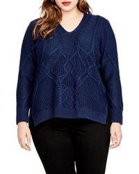 Rachel Roy | Rachel Rachel Roy Mixed Cable Sweater | Lyst