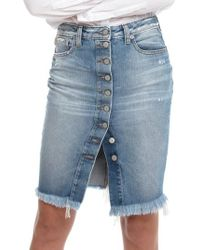 PRPS - Button Down Denim Pencil Skirt - Lyst
