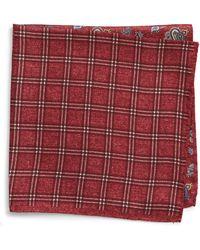 Nordstrom Four Panel Silk Pocket Square - Red