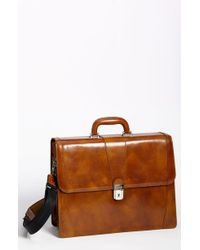 Bosca Double Gusset Briefcase - Brown