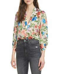 Alice + Olivia Sheila Floral Split Neck Blouse - Multicolor