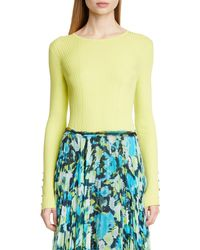 Jason Wu Collection Rib Knit Cashmere & Silk Sweater - Yellow