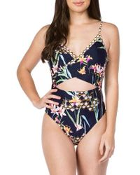 Trina Turk - Fiji Floral Over The Shoulder One-piece Swimsuit - Lyst