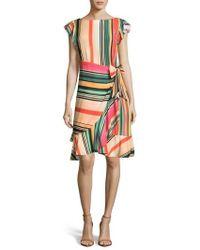 Eci - Multi Stripe Front Wrap Dress - Lyst