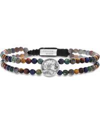 Steve Madden Julius Caesar Coin Stone Bead Bracelet - Metallic