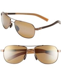 Maui Jim Maui Flex Polarizedplus2 56mm Aviator Sunglasses - Copper/ Brown/ Tan - Metallic