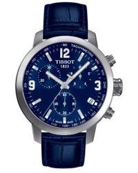 Tissot - Prc200 Chronograph Leather Strap Watch - Lyst