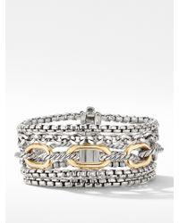David Yurman Multi-row Chain Bracelet With 18k Yellow Gold - Metallic