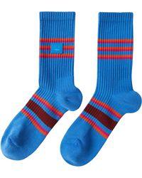 Acne Studios Face Patch Rib Socks - Blue