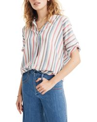 Madewell Courier Pocatello Stripe Button Back Shirt - Multicolour