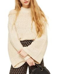 TOPSHOP | Natural Yarn Bell Sleeve Sweater | Lyst
