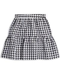 TOPSHOP Sheer Check Miniskirt - Black
