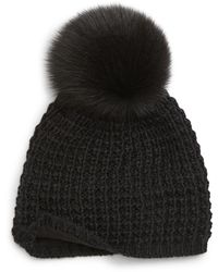 Kyi Kyi Genuine Fox Pompom Hat - Black
